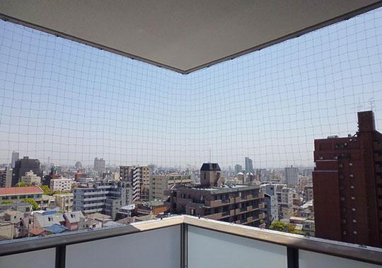 ハトの被害に遭っているマンションに防鳥ネットを設置