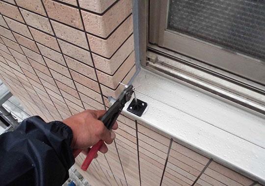 マンション窓部分に防鳥プロトライン設置
